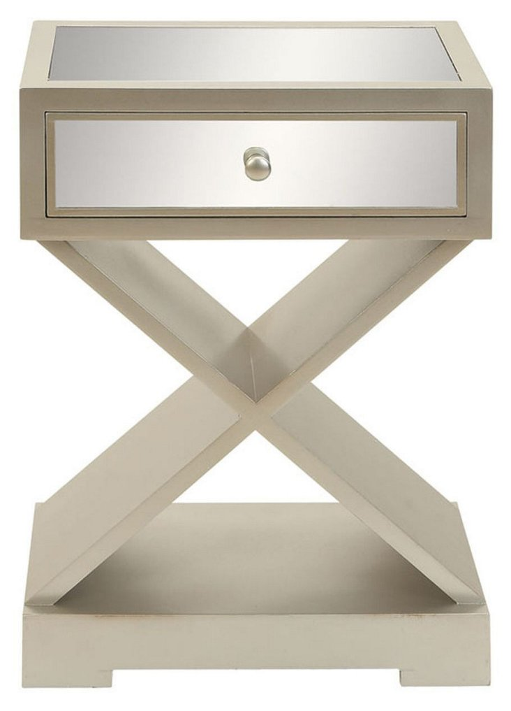 *Finch Mirrored Accent Table, Beige