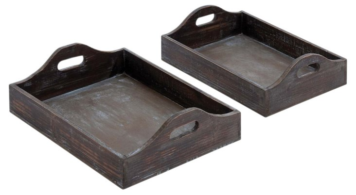 Wood Trays, Asst. of 2