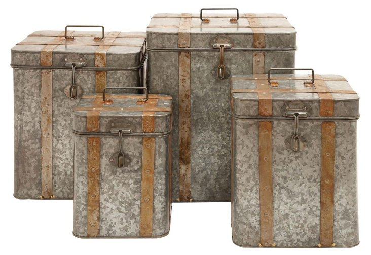 Silver Galvanized Boxes, Set of 4