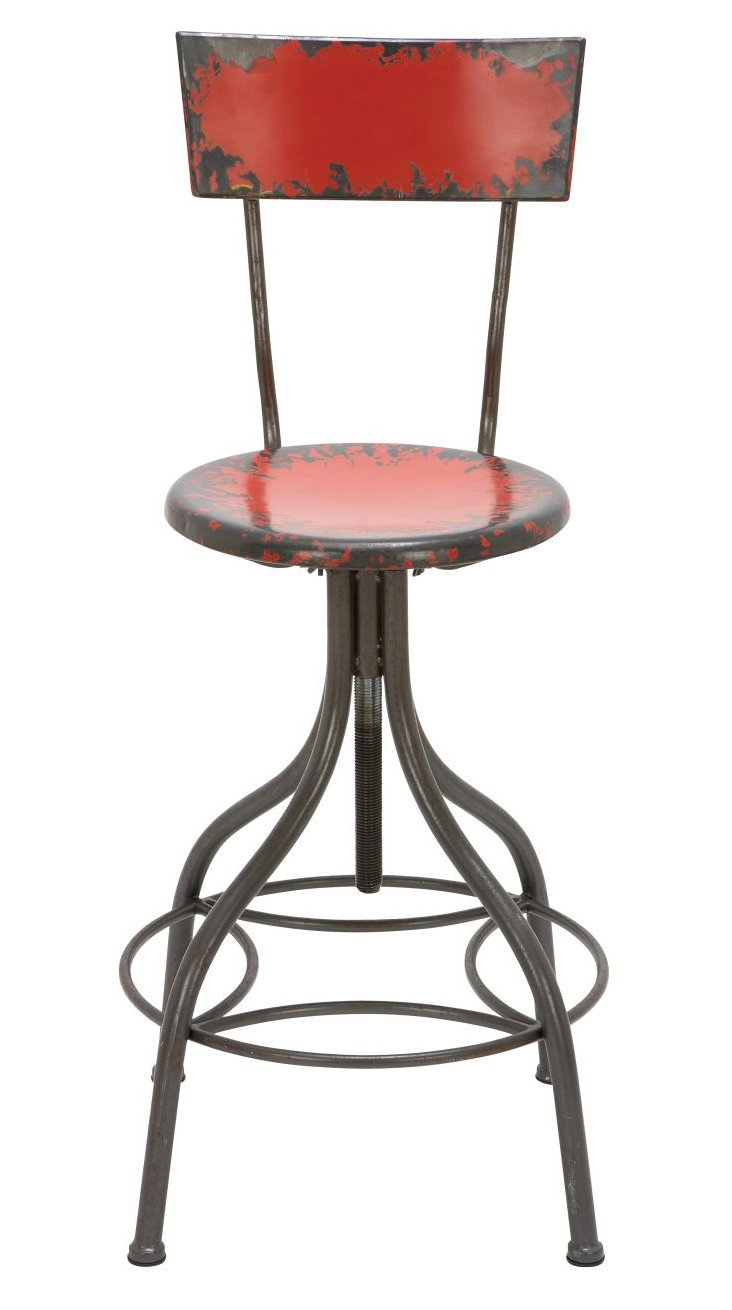 Arryn Metal Bar Chair, Red/Slate