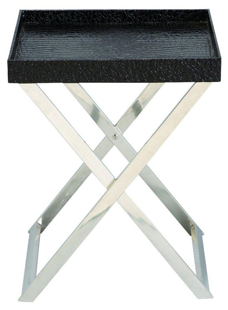 Mulligan Tray Table, Black/Silver