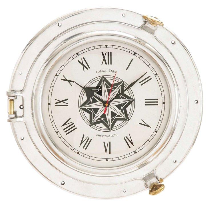 Porthole Clock, White