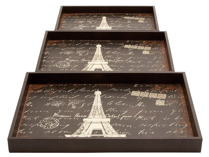 Wood Paris Trays, Asst. of 3