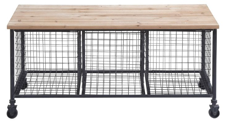 "Declan 39"" Storage Bench, Iron/Driftwood"