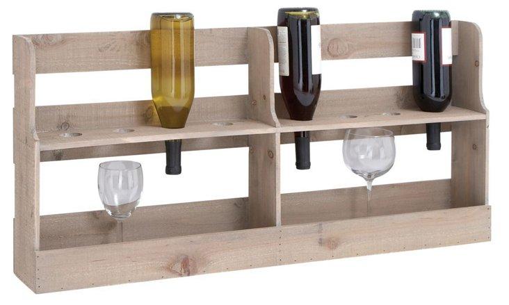 Wood Wine and Glass Rack