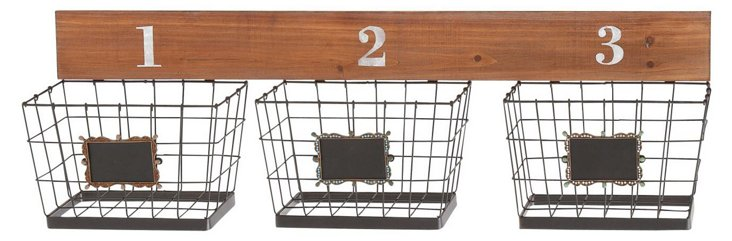 Numbered Mounted Wall Baskets