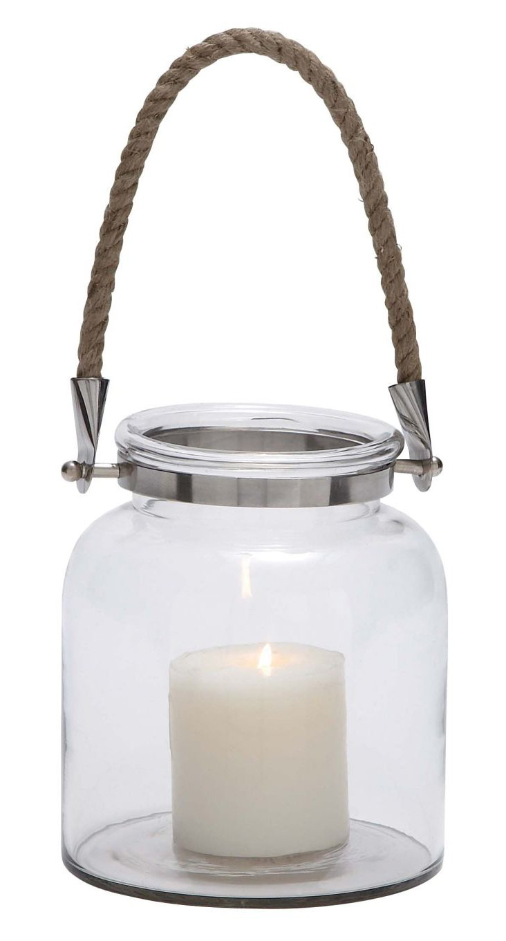 "8"" Glass & Rope Lantern, Clear"