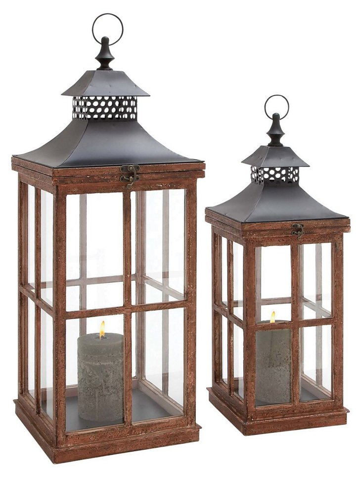 Asst. of 2 Classic Lanterns, Dark Brown