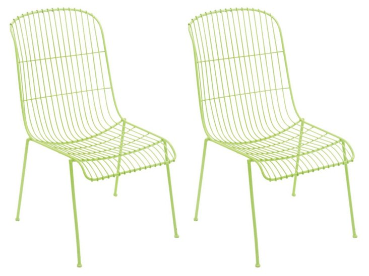 Green Milly Chairs, Set of 4