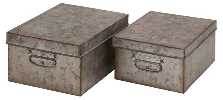S/2 Assorted Metal Storage Boxes
