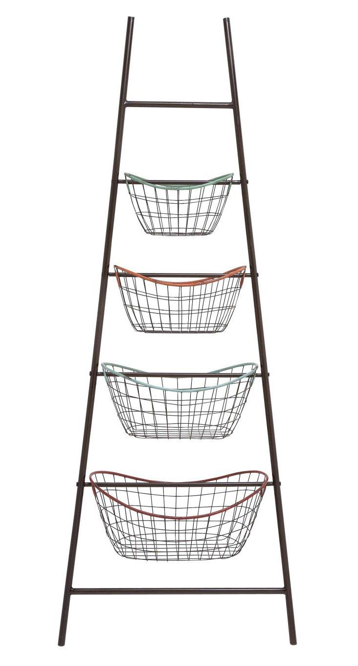 Industrial Leaning Basket Rack