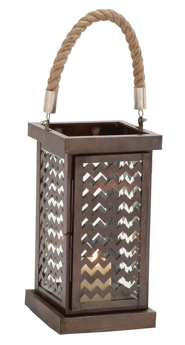 """22"""" Chevron Steel Lantern, Brass"""