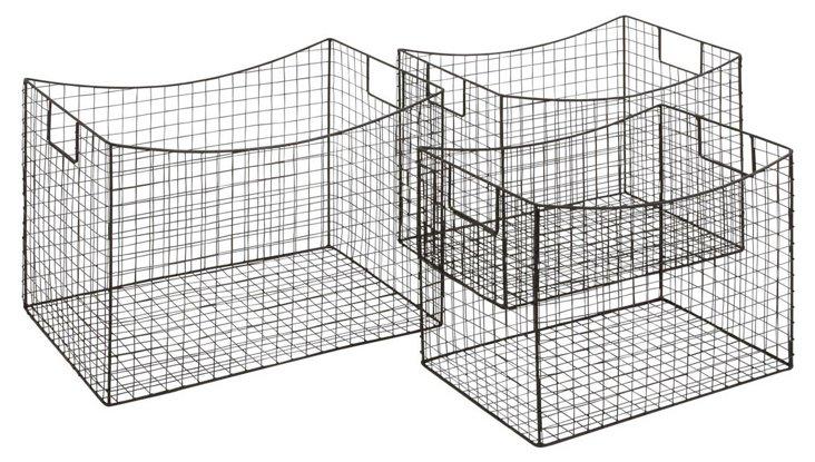 Asst. of 3 Rectangular Iron Baskets