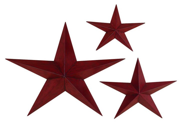 Asst. of 3 Metal Wall Stars, Maroon