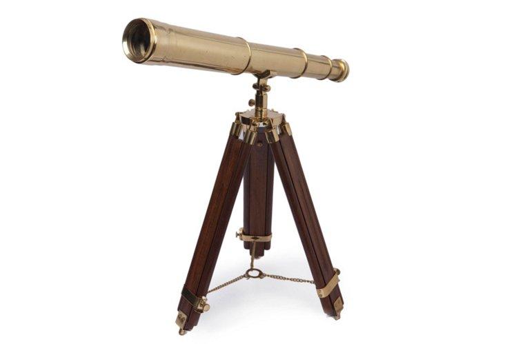 "10"" Folding Desk Telescope, Brass"