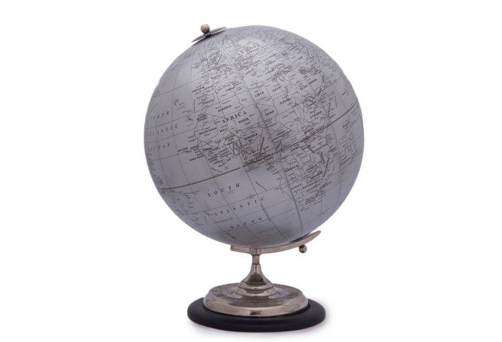 """16"""" Silver Desk Globe"""