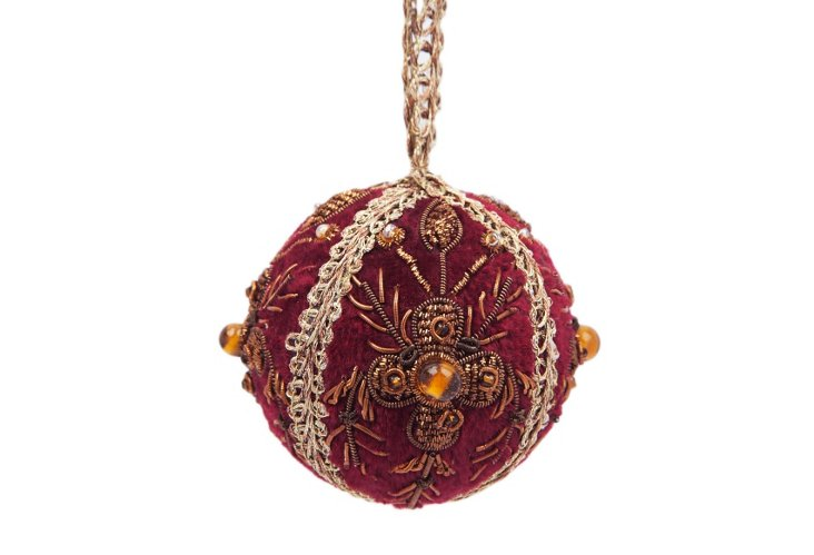 Set of 6 Sphere Ornaments, Red/Gold