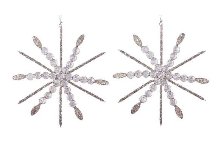 Set of 2 Snowflake Ornaments, Ice