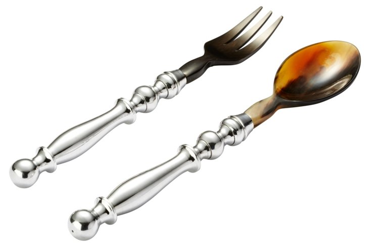 2-Pc Horn Salad Serving Set
