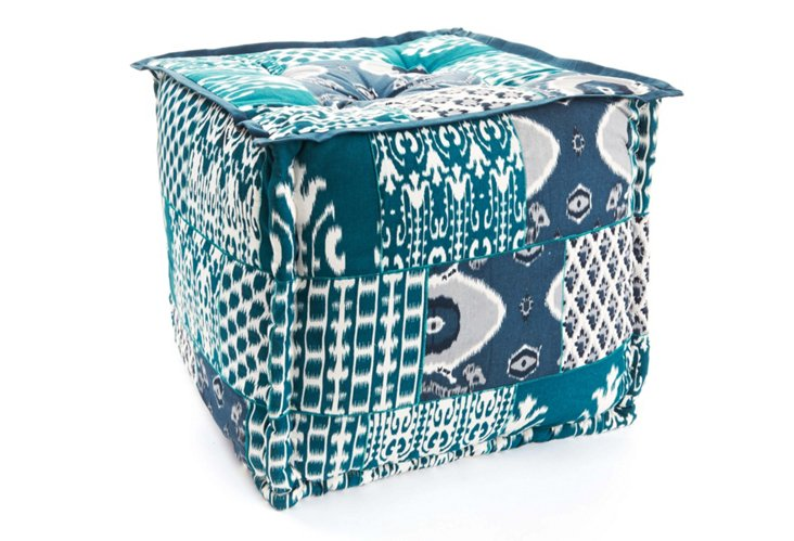 Patchwork Pouf, Blue/White