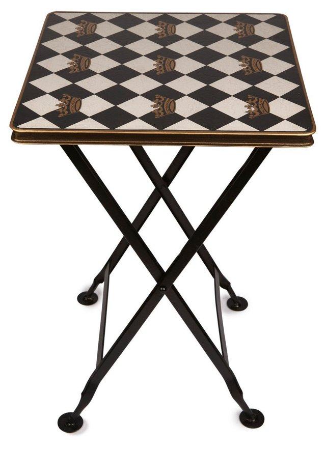 Folding Square Table, Black/White