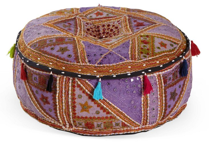 "24"" Round Pouf, Purple"