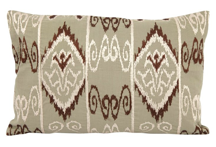 12x18 Embroidered Mayan Pillow, Green