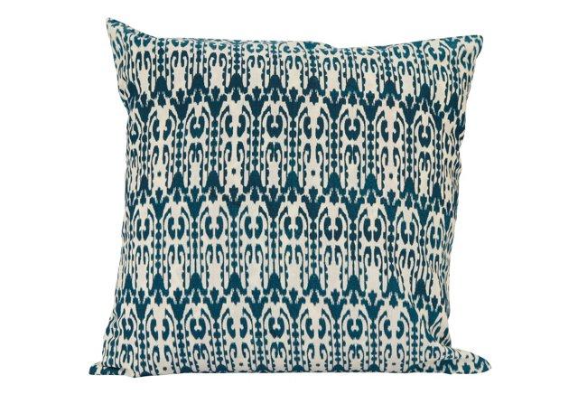 18x18 Reversible Pillow, Blue/White