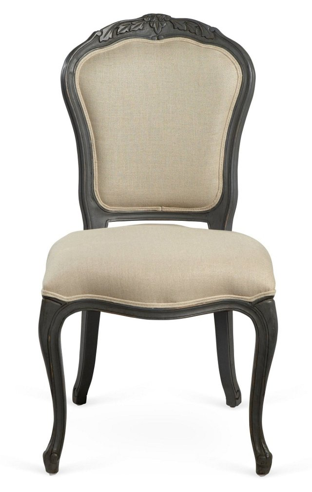 Philippe Side Chair, Taupe/Ivory