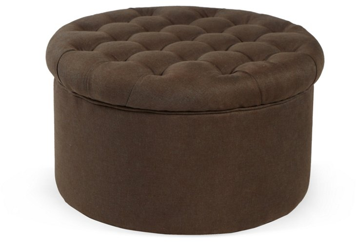 Jennifer Tufted Ottoman, Chocolate