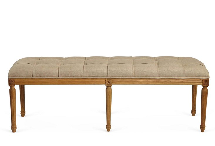 Tufted Rectangular Bench, Greige