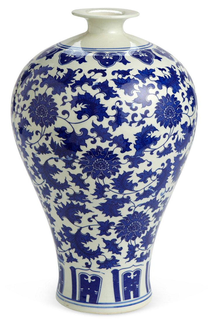 Decorative Vase, Blue/White