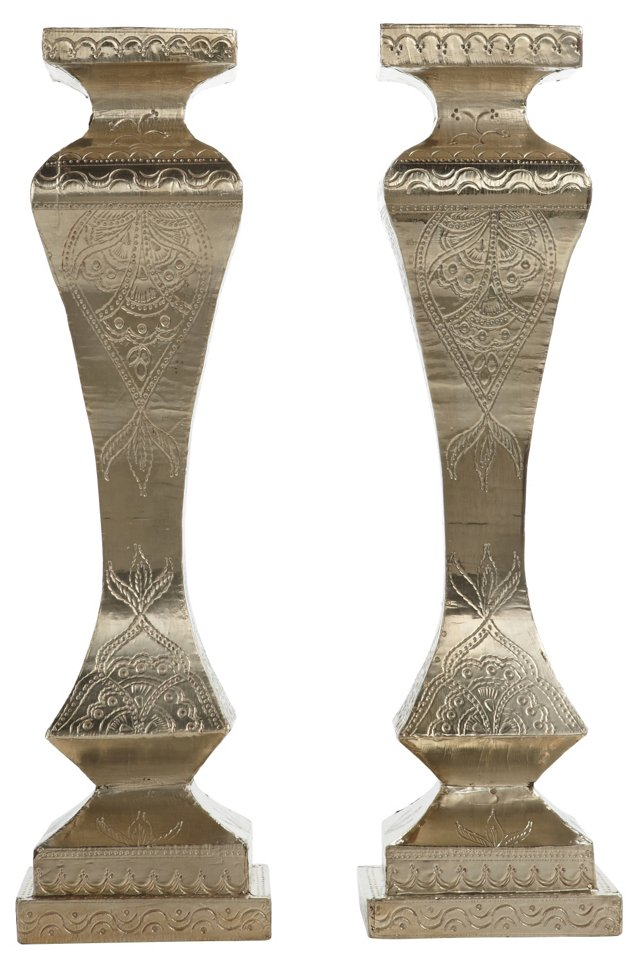 "Pair of 20"" Silver-Finish Candleholders"