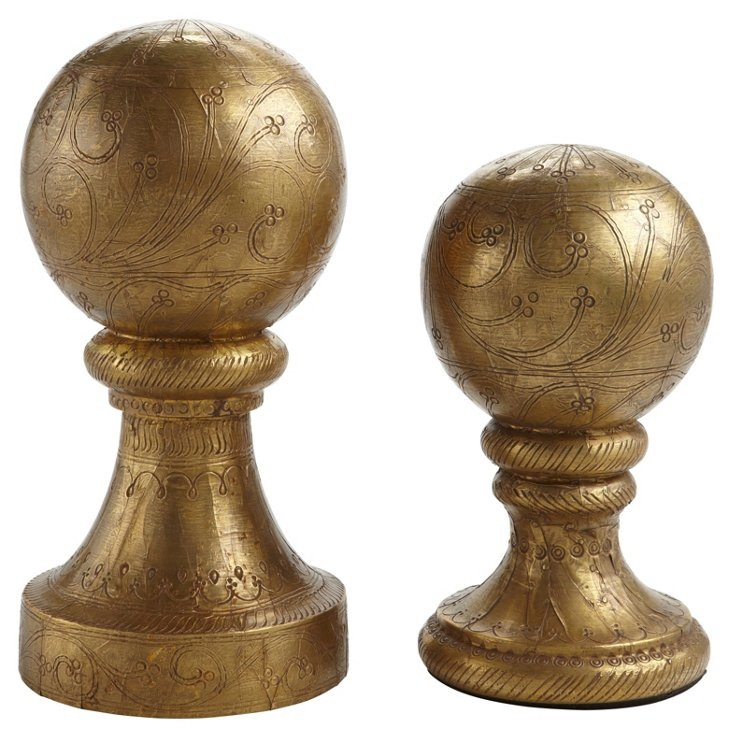 S/2 Wooden Finials, Brass