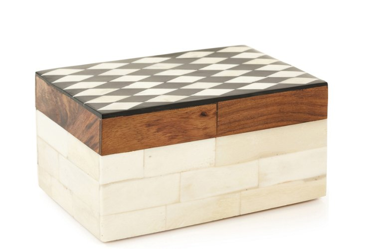 4x6 Diamond Bone Inlay Box