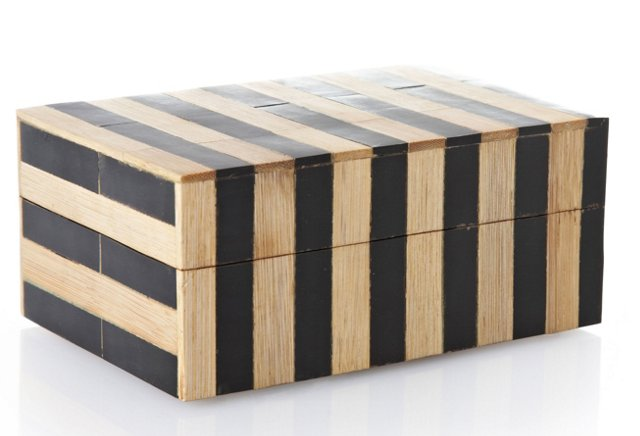 4x6 Horn/Bamboo Stripes Box