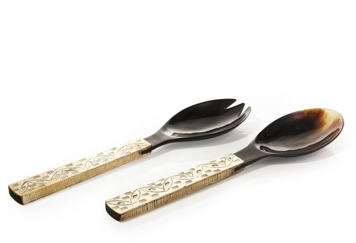 Horn Salad Server Set, Brass Handle