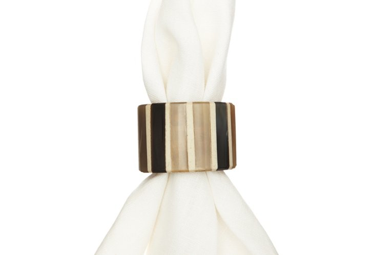 S/4 Inlaid Horn Napkin Rings