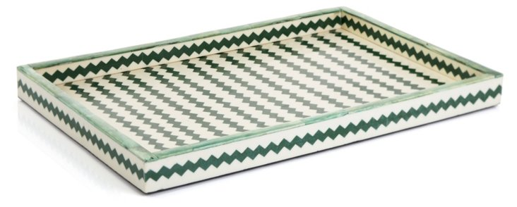 Green Dyed Bone Tray, 13x19
