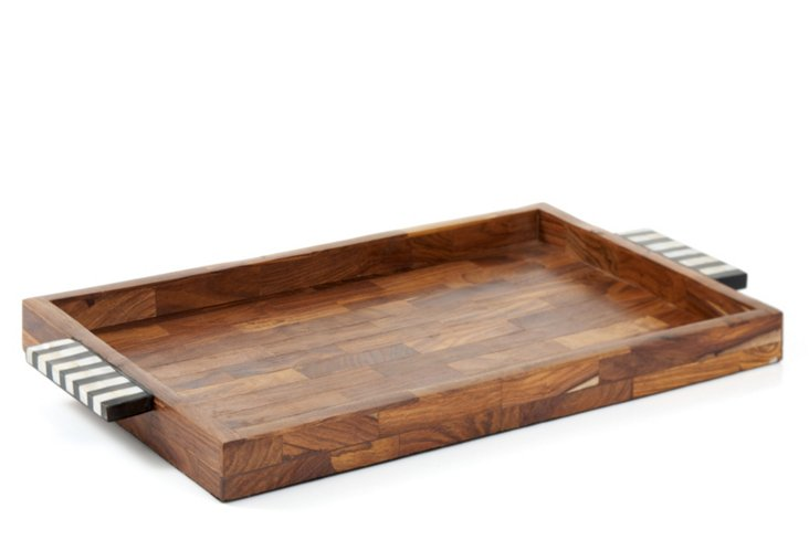 Wooden Tray w/ Horn Handles