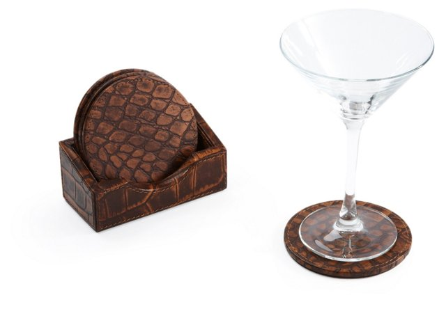 S/4 Faux-Crocodile Coasters