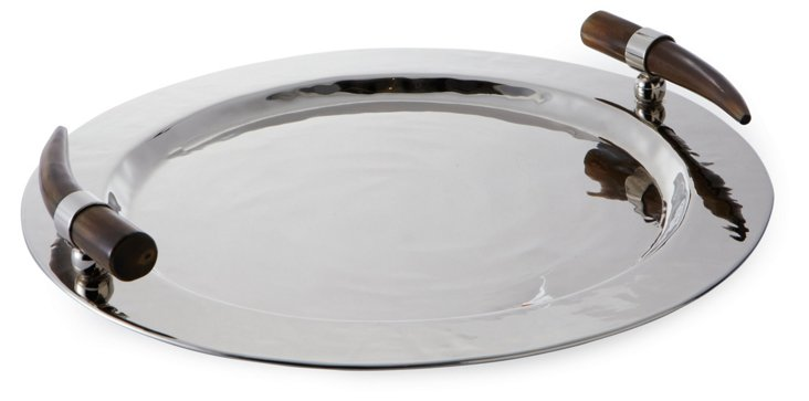 Round Serving Tray, Horn Handle
