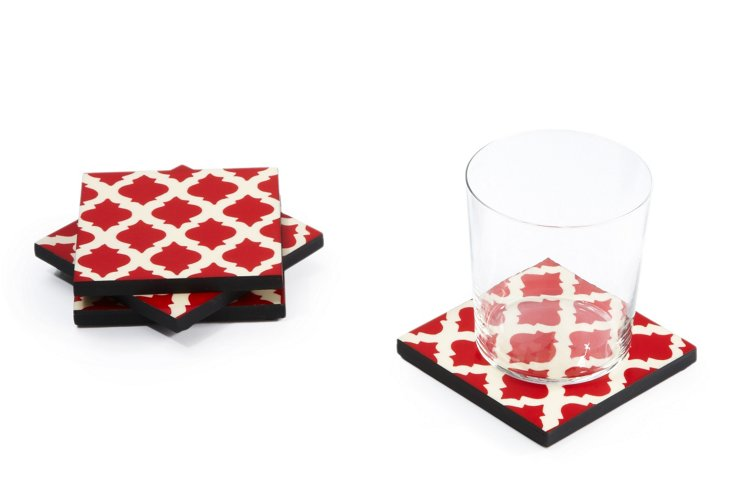 Set of 4 Red Trellis Coasters