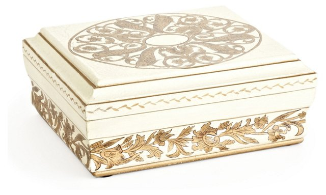 """12"""" Wooden Box in Ivory and Gold Trim"""