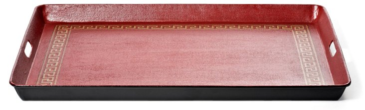 25x19 Langley Tray, Red with Gold Trim