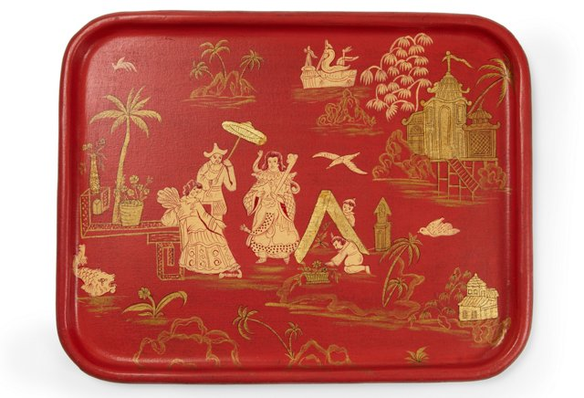 Chinoiserie Tray, Coral