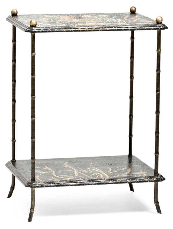 Two-Tier Rooster Table, Black/Gold