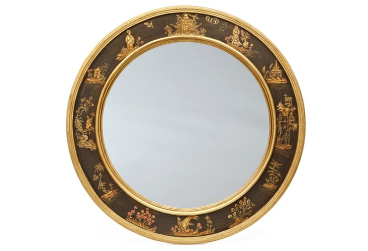 Chinoiserie Oval Mirror, Black/Gold