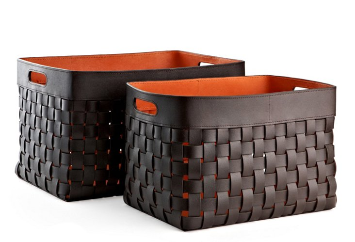 S/2 Woven Leather Baskets, Orange