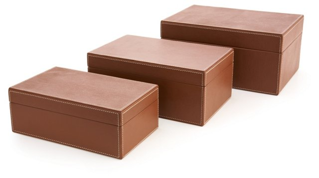 S/3 Assorted Leather Boxes, Tan
